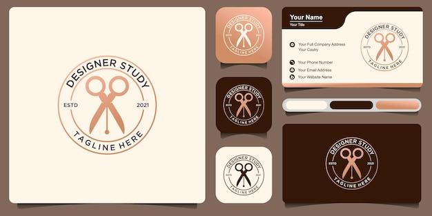 Estudo de designer de logotipo, com design de logotipo de caneta e tesoura. premium vector