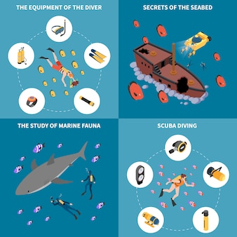 Estudo de equipamento de mergulho dos segredos da fauna marinha do conceito de design isométrico de fundo do mar isolado de ilustração vetorial