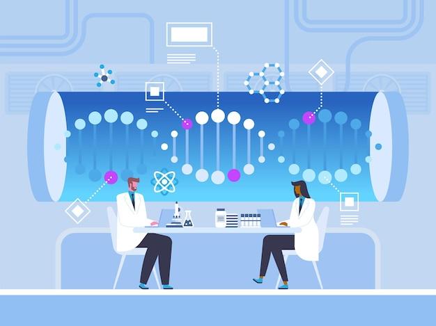 Estudo de hélice de dna, ilustração vetorial plana de pesquisa. médicos, cientistas trabalhando com laptops