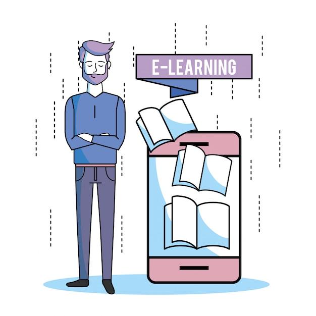 Estudo de homem com smartphone e livro de educação