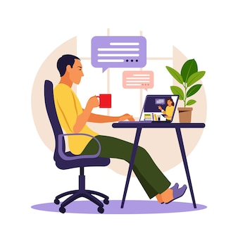 Estudo de jovem no computador. conceito de aprendizagem online.