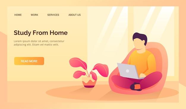 Estudo do aluno em casa no sofá do sofá para banner de modelo de página inicial de desembarque de site