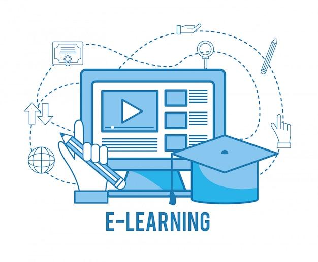 Estudo on-line de computador com tampa de formatura