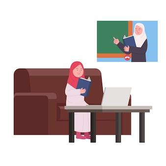 Estudo on-line em casa árabe professor em videochamada que explica a lição para o aluno