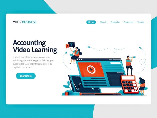 Estudos de contabilidade com landing page de e-learning