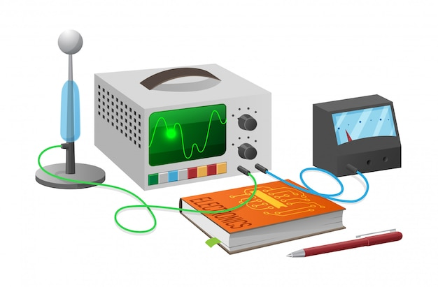 Estudos de eletrônica com ilustração de equipamentos
