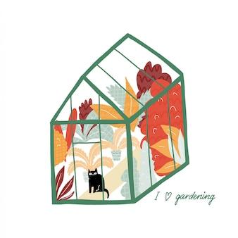 Estufa com plantas e gato bonito. conceito de estufa. mão de ilustrações desenhadas com um jardim botânico.