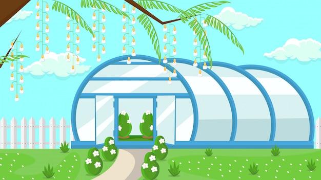 Estufa em ilustração vetorial plana de jardim
