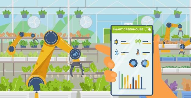 Estufa inteligente e conceito de agricultura