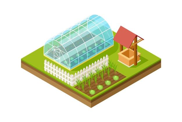Estufa isométrica. jardinagem e plantio, estilo de vida rural. projeto de design de jardim paisagístico, ilustração vetorial de modelagem 3d. agricultura isométrica, fazenda com efeito de estufa com vegetais