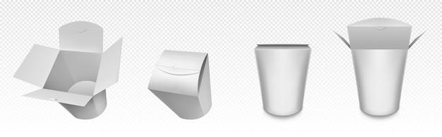 Esvazie a caixa wok branca, embalagem de papel para comida chinesa, macarrão ou arroz com frango.