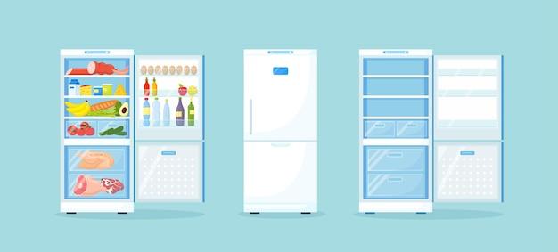 Esvazie a geladeira fechada e aberta com diferentes alimentos saudáveis. geladeira no freezer da cozinha com carne nas prateleiras