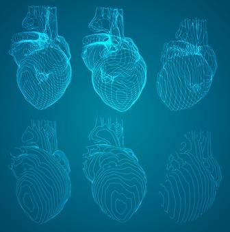 Et de contornos na forma de um exame de coração