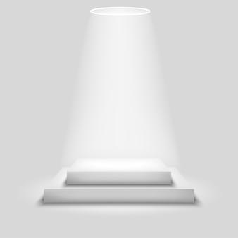Etapa de competição realista com pódio branco vazio
