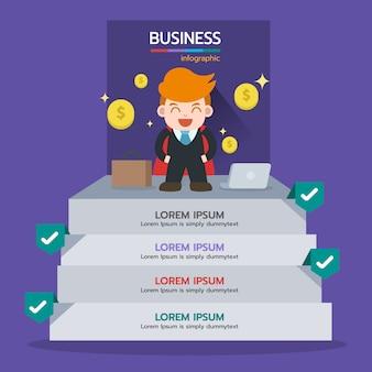 Etapa de infográfico para obter sucesso com moeda de dinheiro. conceito de negócio, elemento gráfico