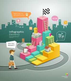Etapa de papel de círculos, design de infográfico de homem de negócios, ilustrações