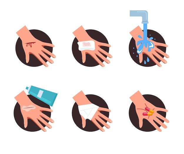Etapa de primeiros socorros para ajuda na pele da ferida