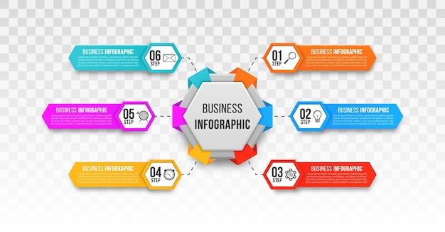 Etapa infográfico de negócios para apresentação de negócios