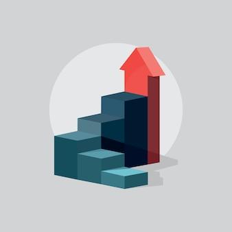 Etapa moderna com cronograma de gráficos de informação de escada, progresso do crescimento, gráfico de lucro de negócios