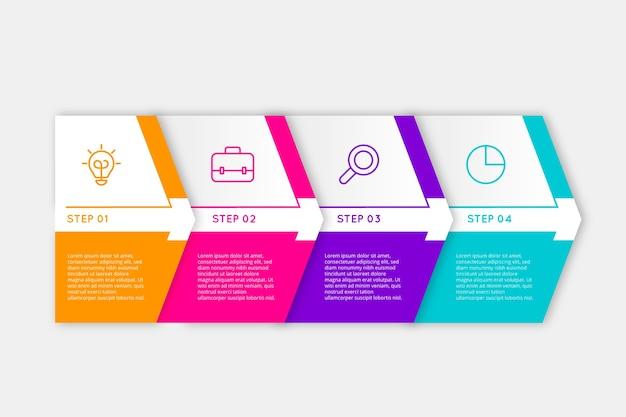 Etapas coloridas diferentes para infográficos