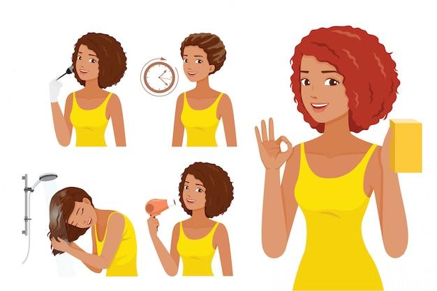 Etapas da mulher de pele negra, colorindo seu próprio cabelo, processo de coloração de cabelo