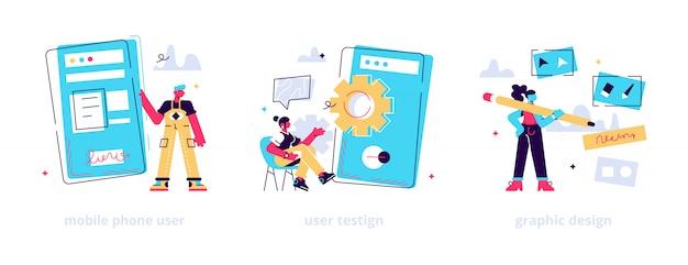 Etapas de criação de aplicativos. desenvolvimento de interface de usuário, correção de bugs, lançamento público. usuário de celular, teste de usuário, metáforas de design gráfico