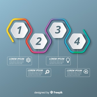 Etapas de infográfico colorido em gradiente