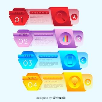 Etapas de infográfico com estilo gradiente