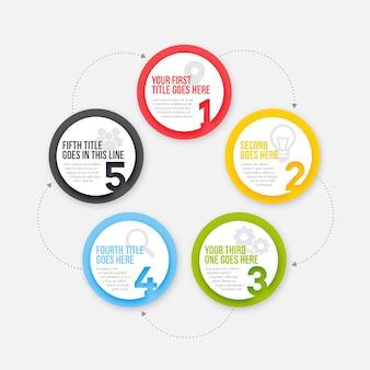 Etapas de infográfico de círculo