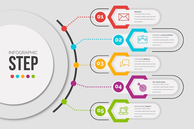Etapas de infográfico de modelo de design plano