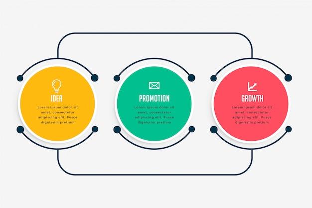 Etapas de infográfico de negócios em estilo de linha