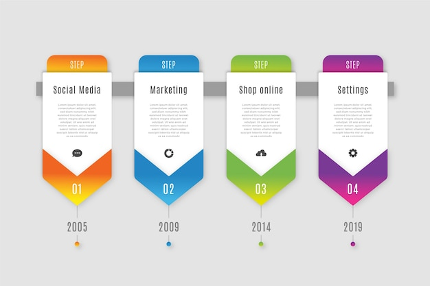 Etapas de infográfico de negócios em gradiente