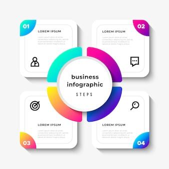 Etapas de infográfico de negócios