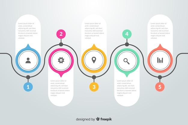 Etapas de infográfico design plano