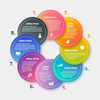 Etapas de infográfico em estilo gradiente