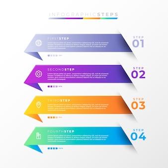 Etapas de infográfico gradiente