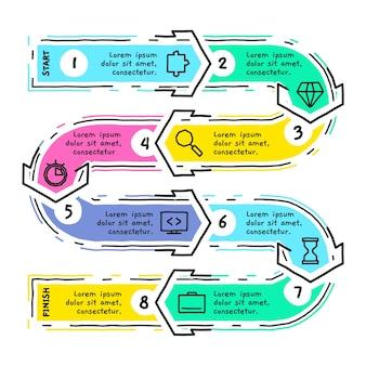 Etapas de infográfico mão modelo desenhado