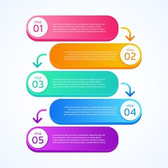 Etapas de infográfico negócios gradiente