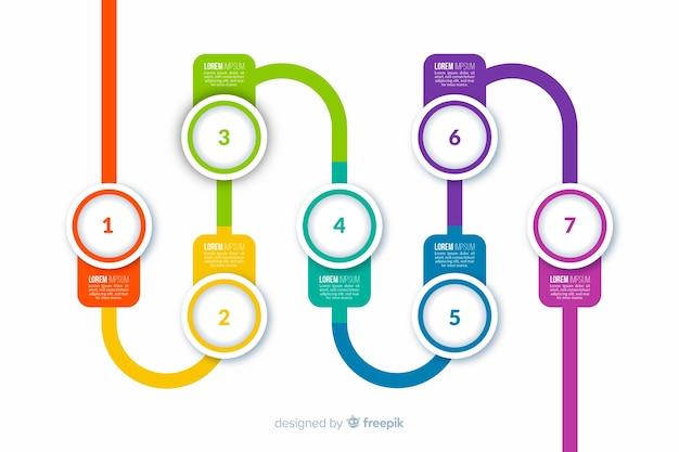 Etapas de infográfico plano colorido
