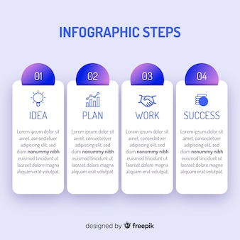 Etapas de infográficos gradientes