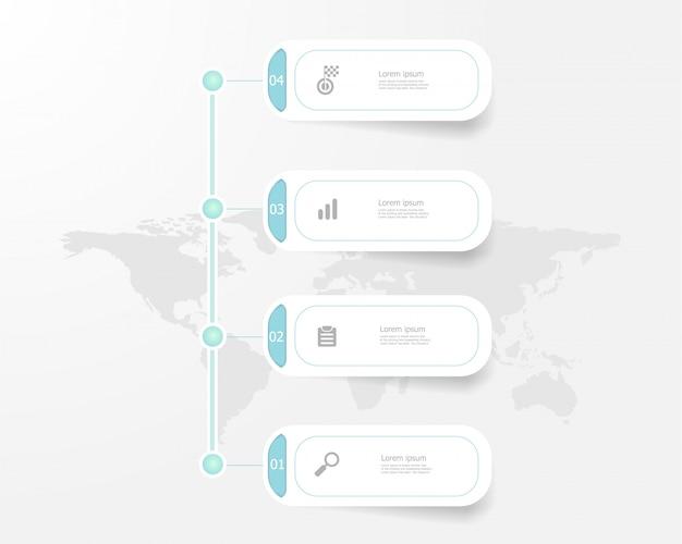 Etapas de infográficos timeline verticais para negócios e educação