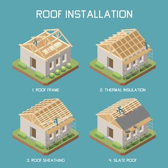 Etapas de instalação do telhado de ardósia 4 elementos isométricos definidos com revestimento de isolamento térmico de estrutura