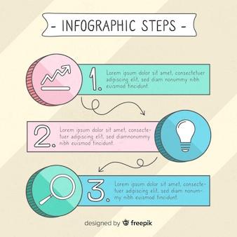 Etapas de mão desenhada infográfico colorido