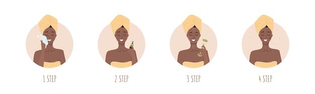 Etapas de massagem facial. mulher africana fazendo procedimentos cosméticos em spa