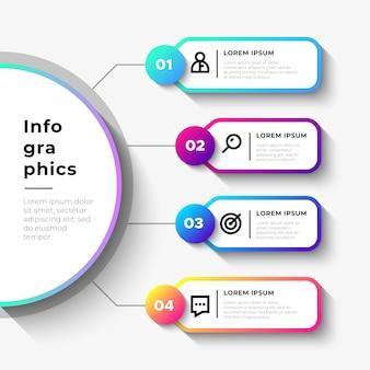 Etapas de negócios infográfico com grande semicírculo