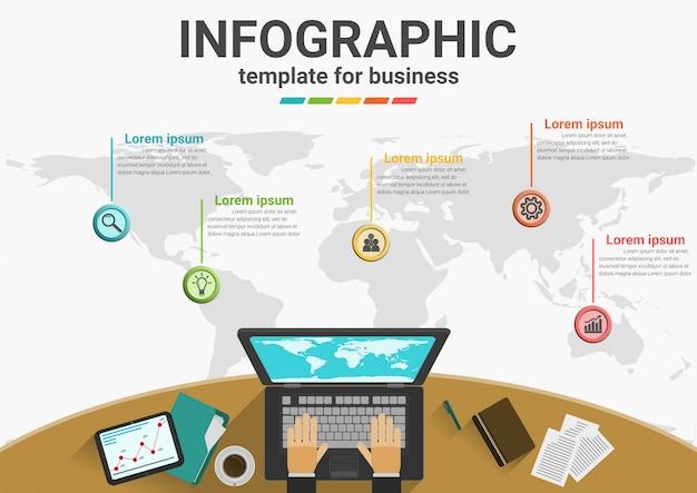 Etapas de negócios para dados de infográfico de sucesso.