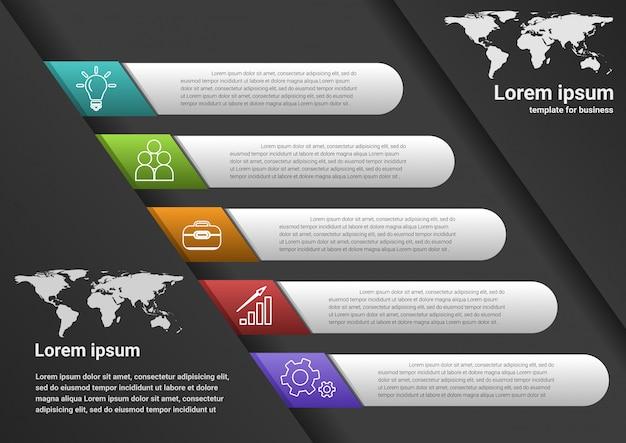 Etapas de negócios para o sucesso infográfico de dados