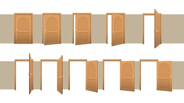 Etapas de porta fechada e aberta. animação de abrir gradualmente o quarto de madeira marrom.
