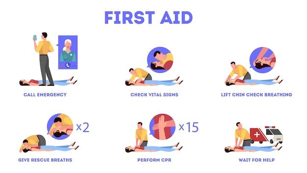 Etapas de primeiros socorros em situação de emergência. massagem cardíaca ou rcp