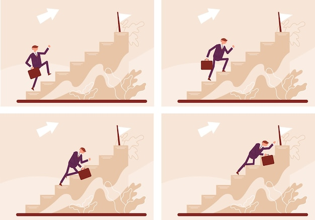 Etapas de subir as escadas um homem se levanta, caminha rasteja conceito de negócios carreira de gerente